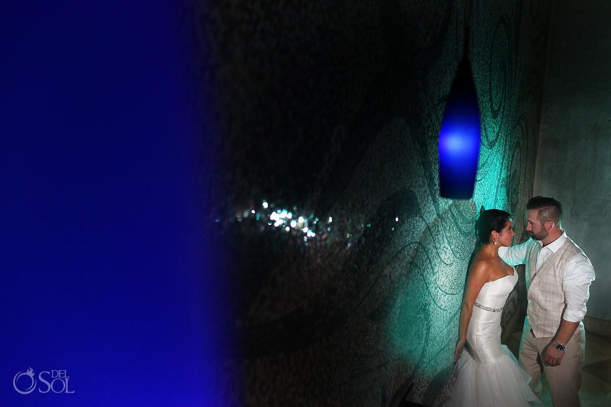 Creative night time wedding portrait reception Secrets Maroma, Riviera Maya, Mexico