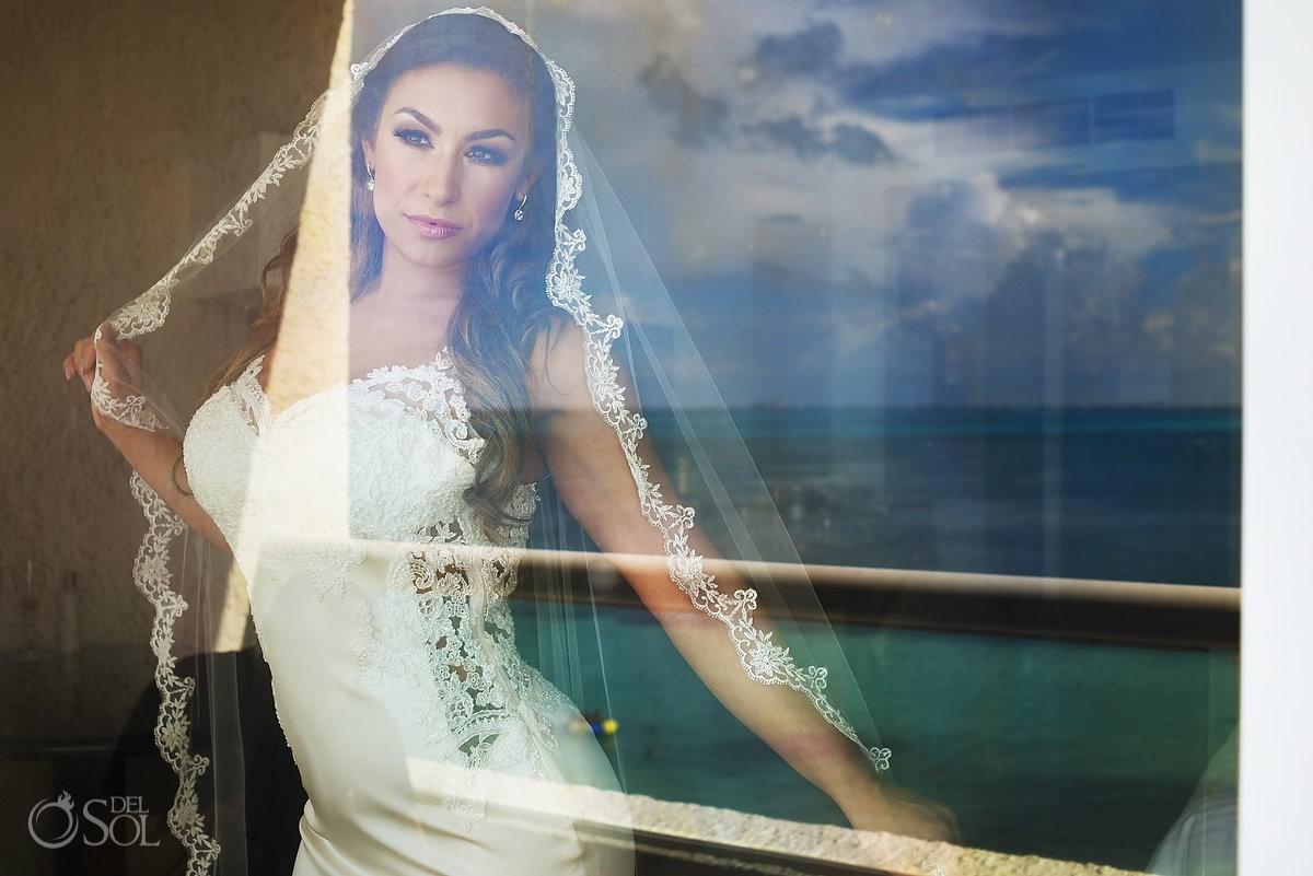 Creative wedding bride portrait reflection, Dreams Sands Cancun Resort, Mexico