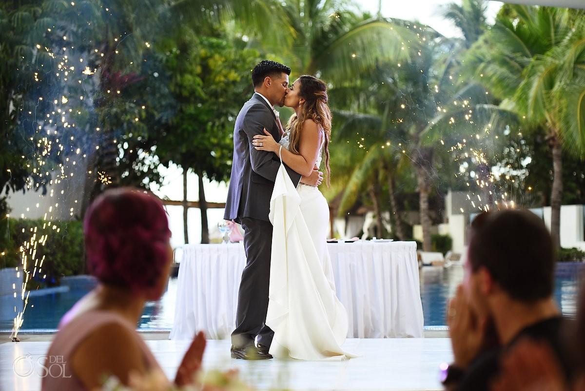 First dance fireworks, Wedding Reception, El patio terrace, Dreams Sands Cancun, mexico