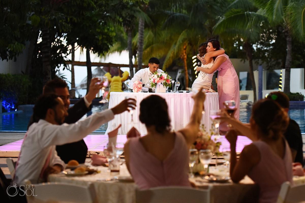Speeches hugs Wedding Reception, El patio terrace, Dreams Sands Cancun, mexico