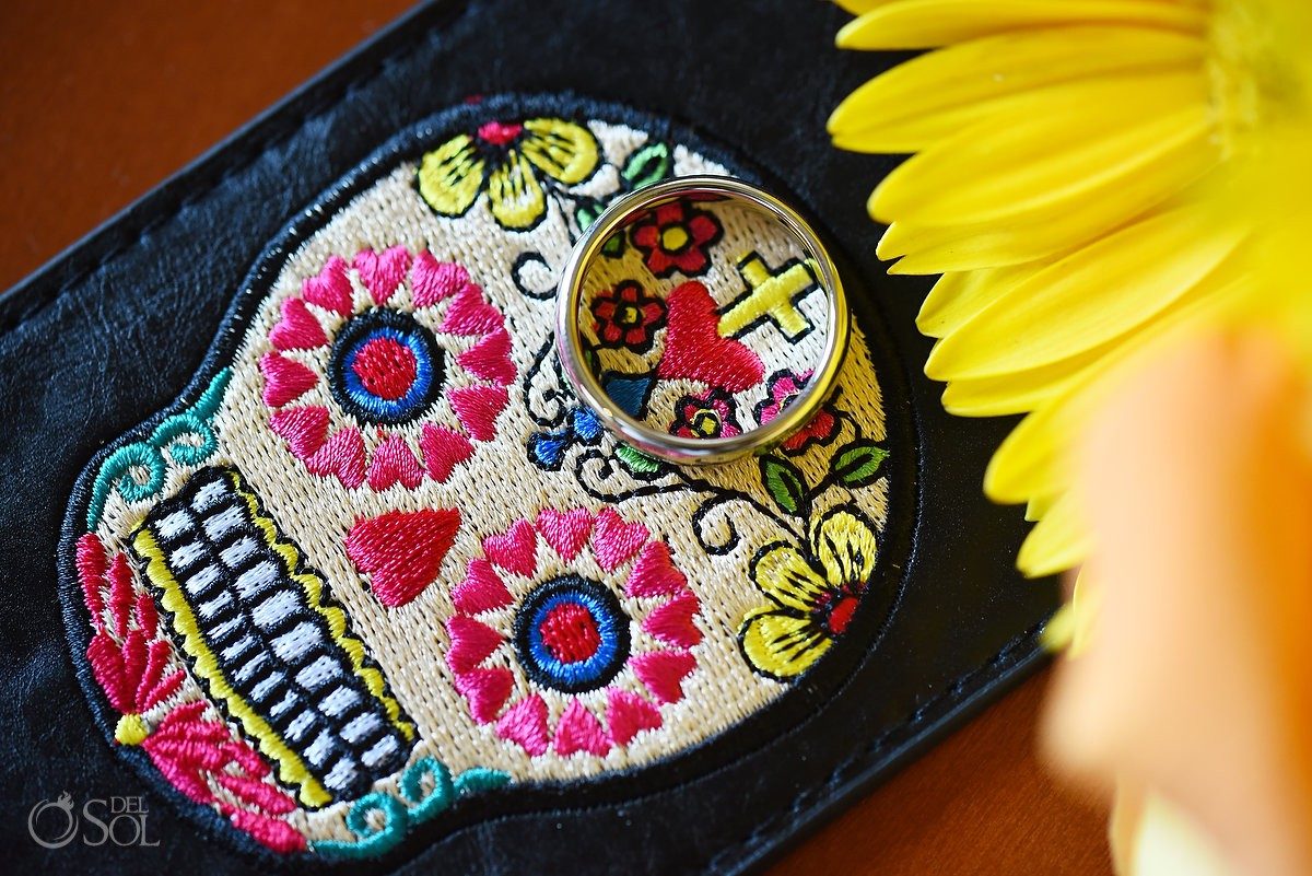 Day of the Dead Dia de Muertos sugar skull embroidery engagement wedding ring detail