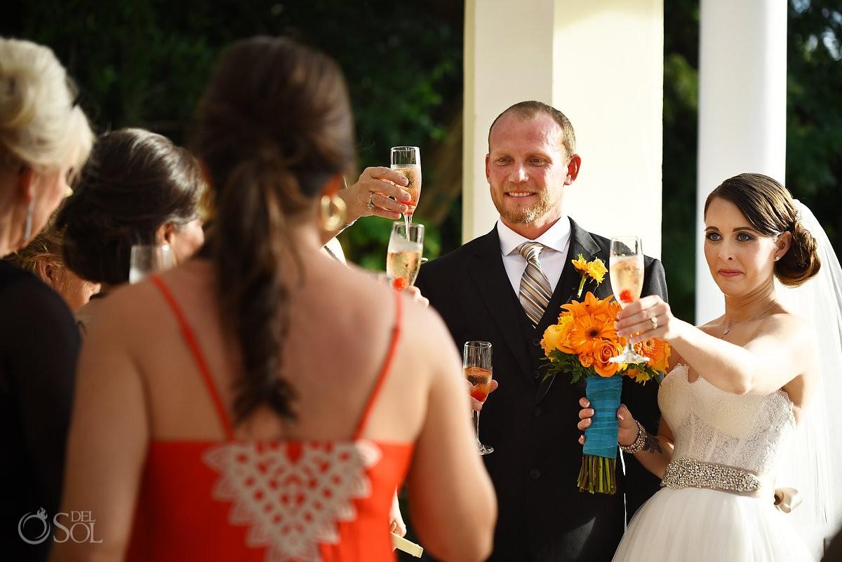 Toasts Wedding Ceremony Gazebo Valentin Imperial Maya, Playa del Carmen, Mexico