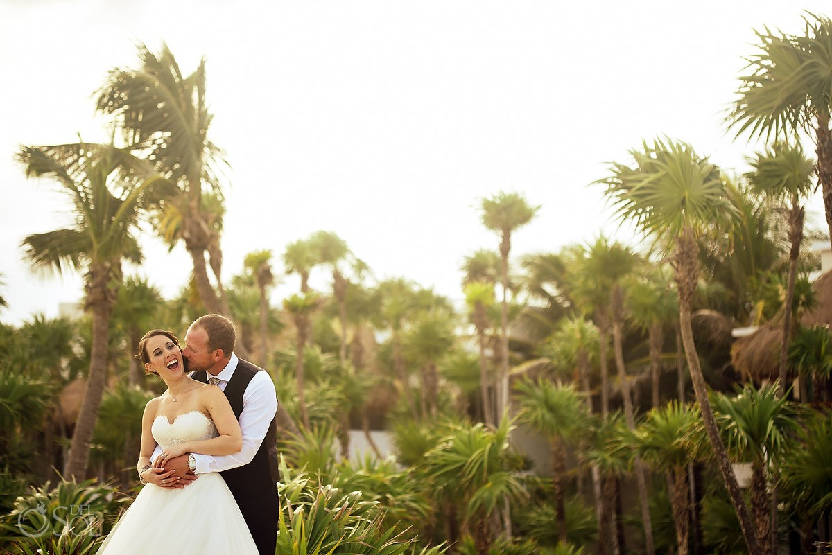 Golden hour Wedding portraits Valentin Imperial Maya, Playa del Carmen, Mexico