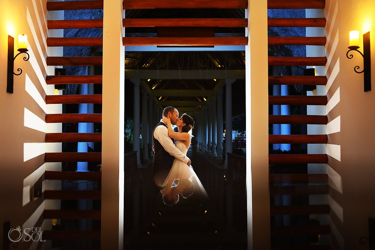 Creative wedding portrait reflection Wedding Valentin Imperial Maya, Playa del Carmen, Mexico