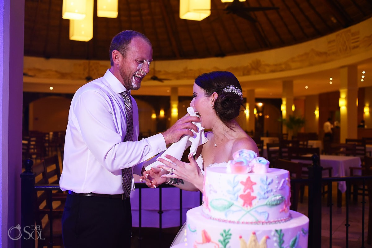 Cake smash, funny picture, Wedding reception Valentin Imperial Maya, Playa del Carmen, Mexico