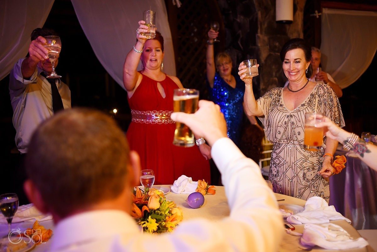 Toasts Wedding reception fun Valentin Imperial Maya, Playa del Carmen, Mexico