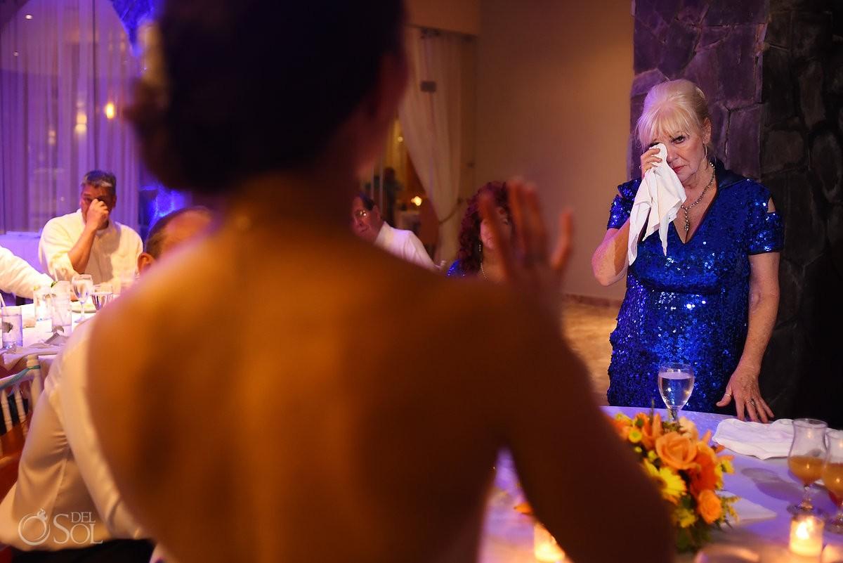 Emotional crying speeches Wedding reception Valentin Imperial Maya, Playa del Carmen, Mexico