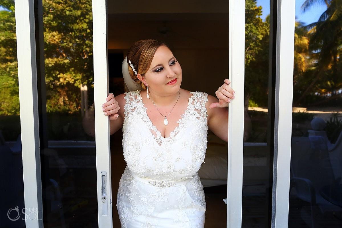 isla mujeres destination wedding photo of Bride with Gown Boutique Allure Bridals