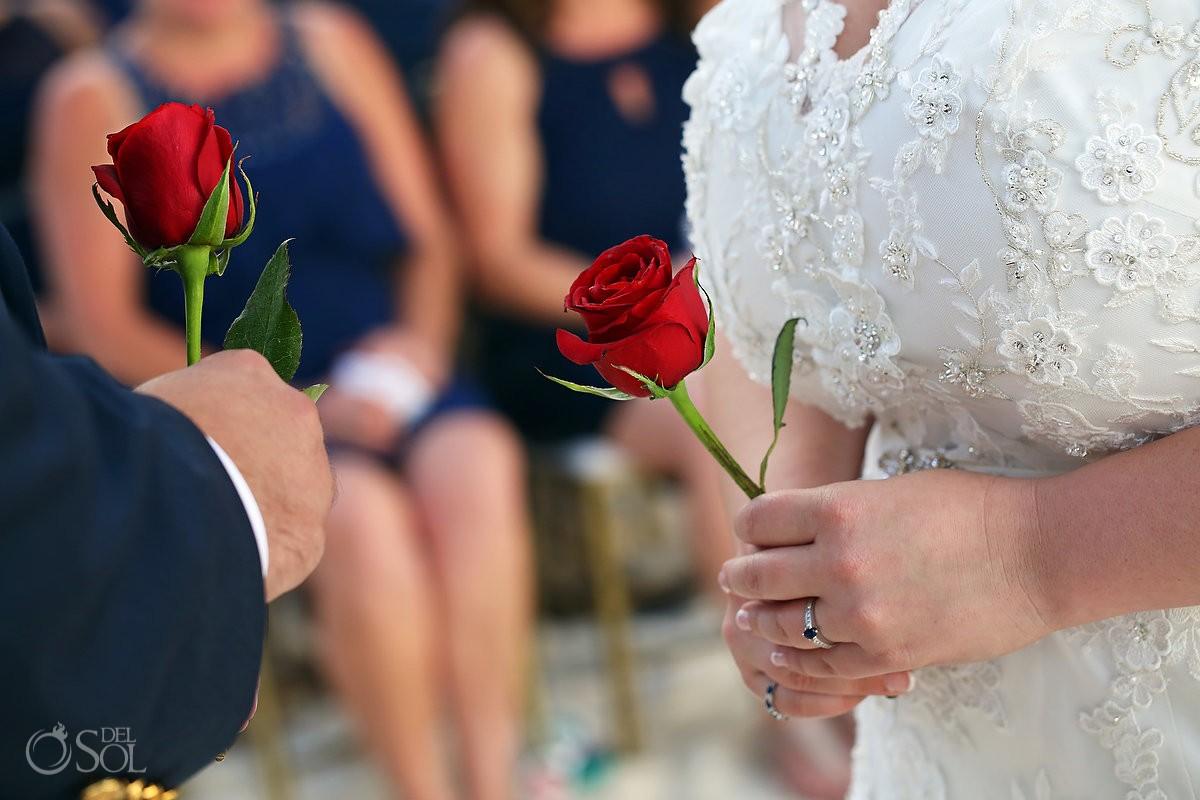 bride with red rose wedding ceremony idea at isla mujeres mexico