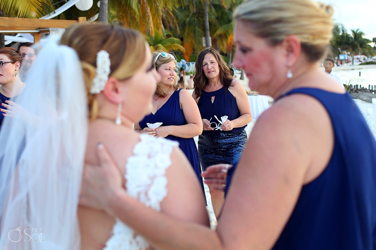 bride and mother at beach destination wedding on Isla mujeres