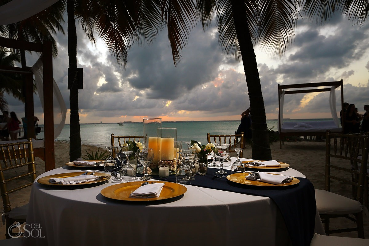 destination wedding reception at Cabanas maria del mar table setups, beach wedding decor.