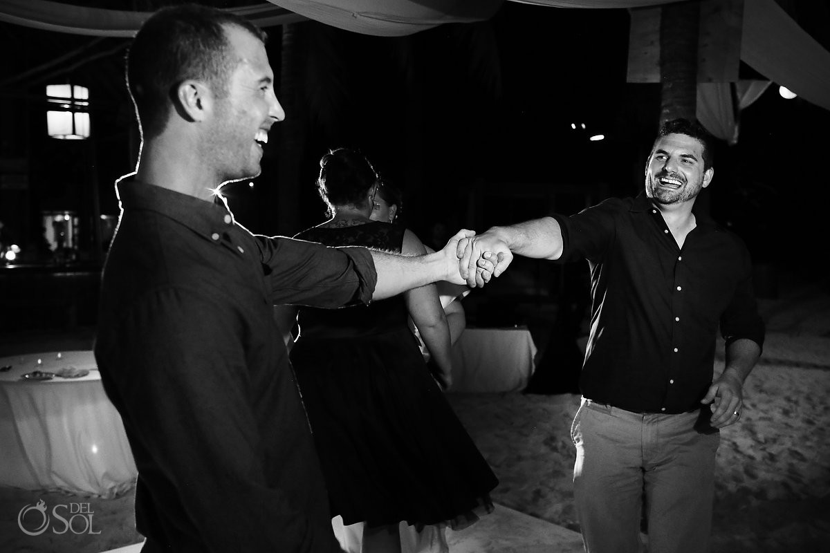 reception dancing at beach destination wedding in isla mujeres