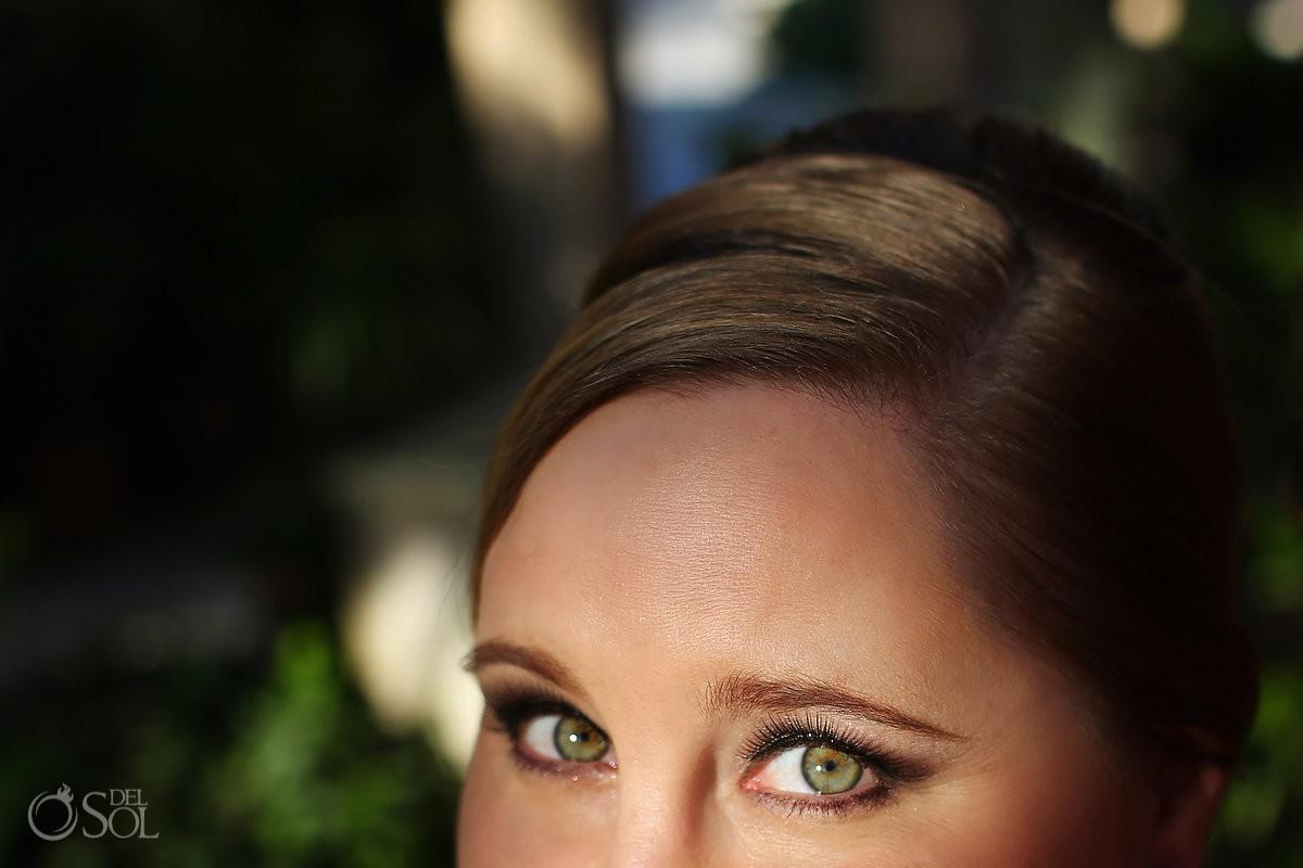 Bride eyes detail Wedding Portraits, Isla Mujeres, Mexico