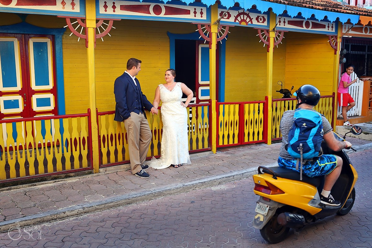Wedding Portraits, creative street photography scooter, Island life, Isla Mujeres, Mexico