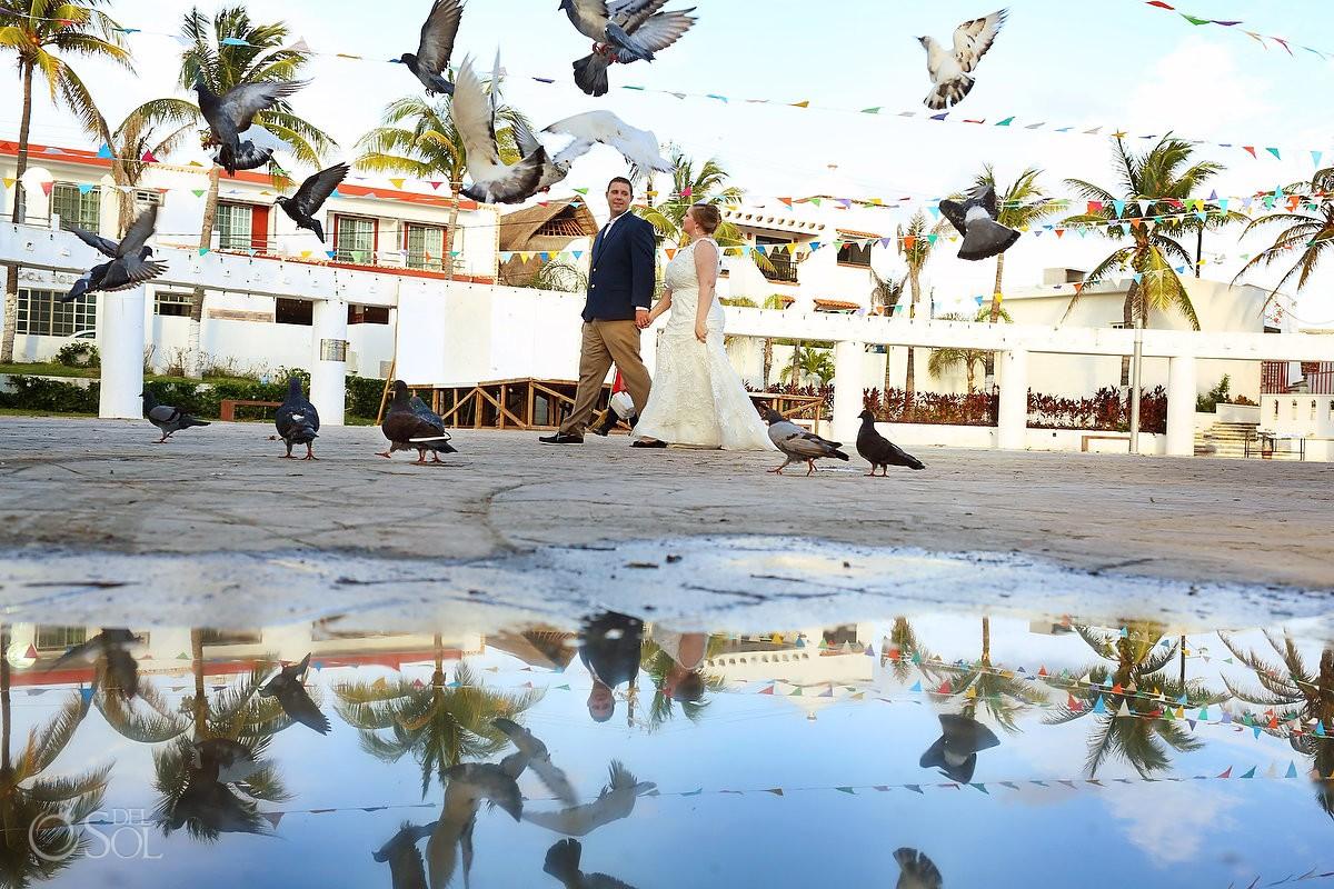 Creative Wedding Portraits, street photography, birds flying reflection, Isla Mujeres, Mexico