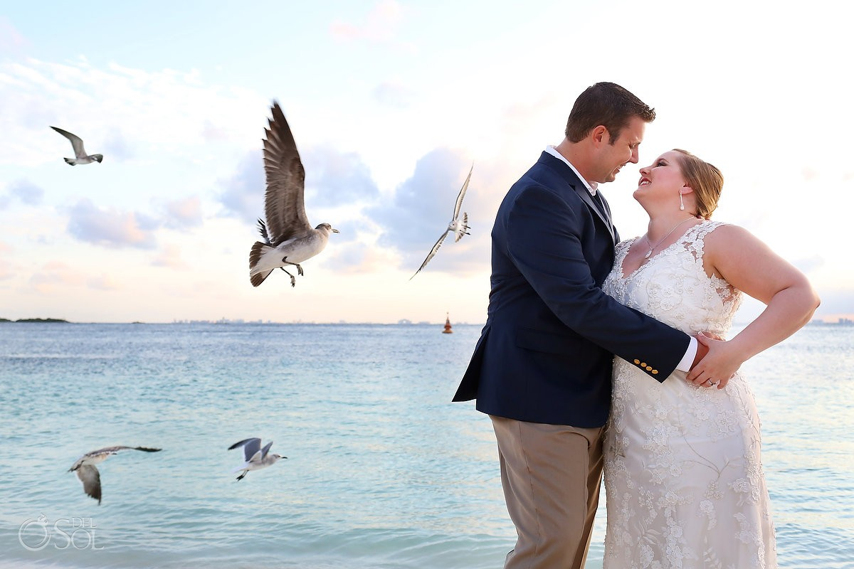 Creative Wedding Portraits, birds flying, Isla Mujeres, Mexico