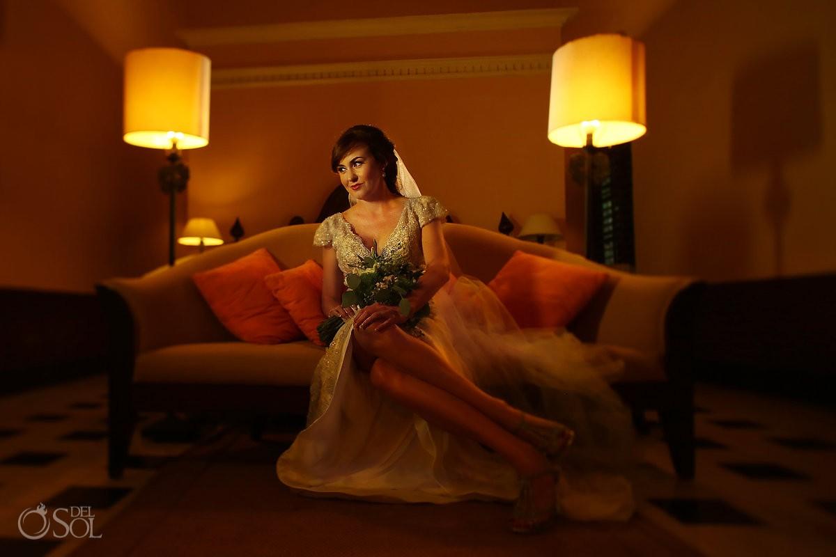 Bride portrait sofa room warm ambient light, Wedding Hacienda Uayamon, Campeche, Mexico