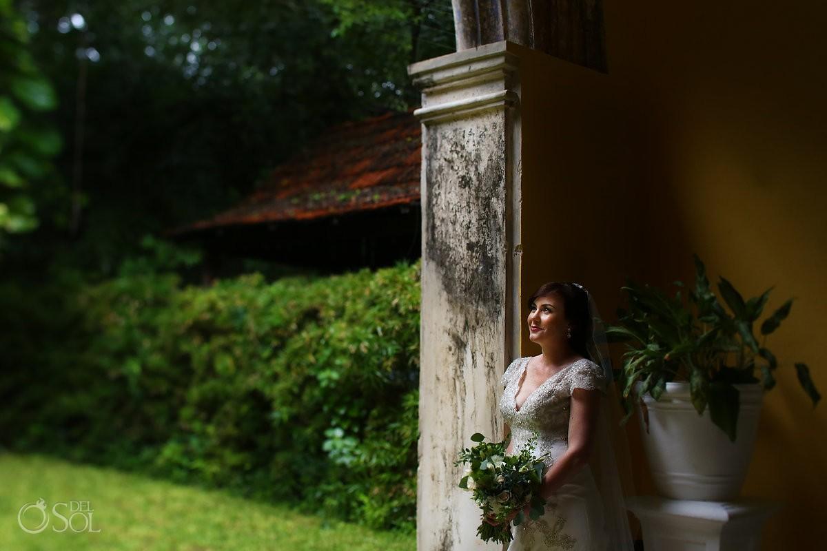 bride wedding portrait garden arch, Wedding Hacienda Uayamon, Campeche, Mexico