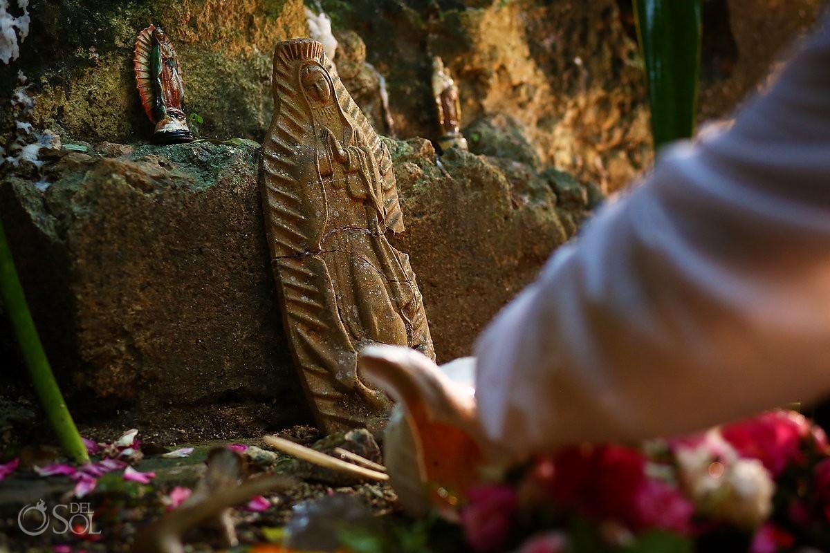 Guadalupe virgin Mayan wedding ceremony, elopement, chapel ruins Hacienda Uayamon, Campeche, Mexico