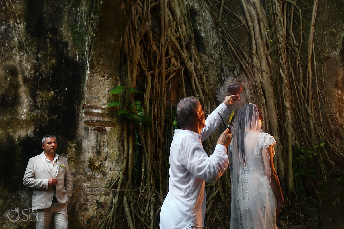 Mayan wedding ceremony, copal blessing, chapel ruins Hacienda Uayamon, Campeche, Mexico