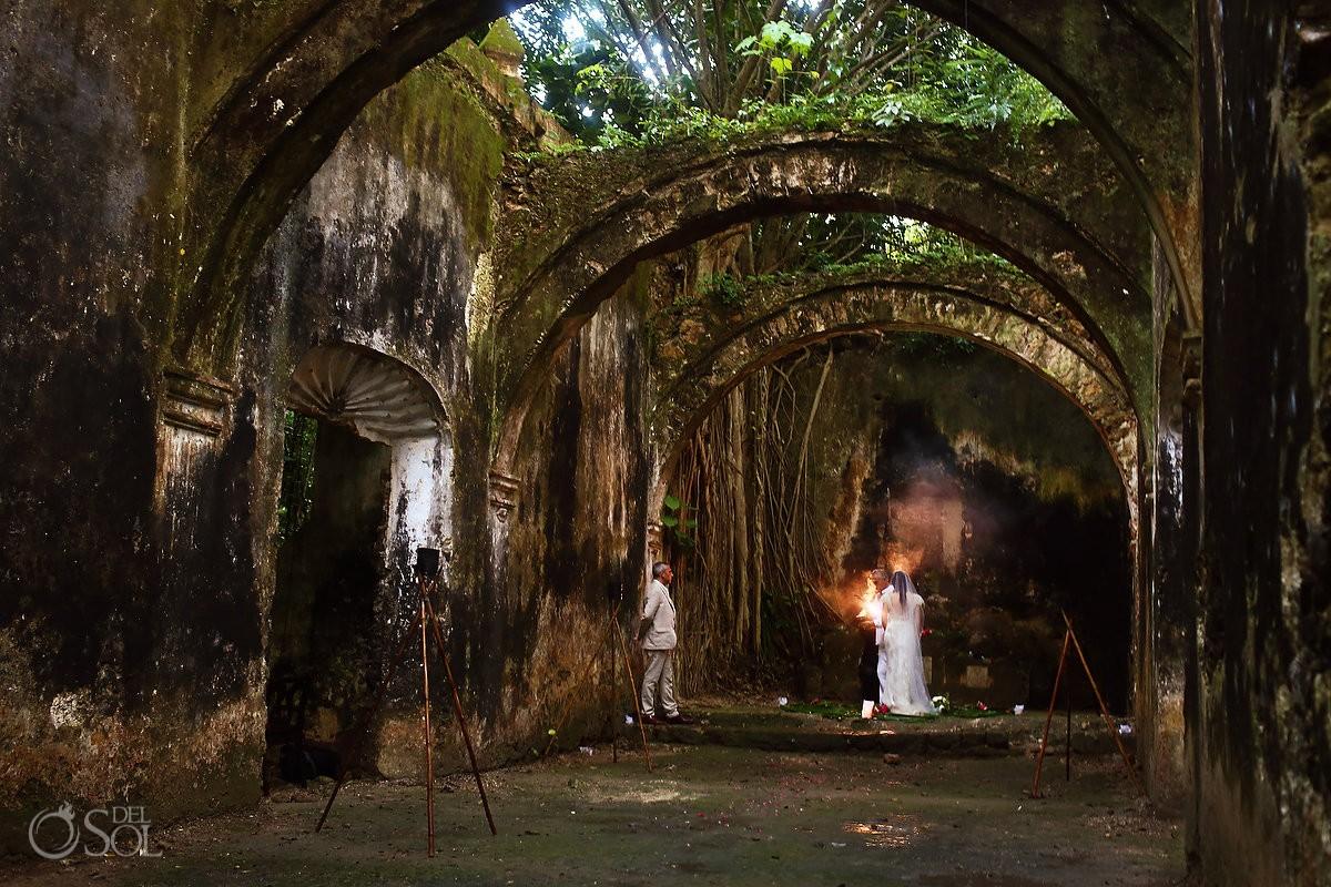 chapel ruins Hacienda Uayamon, Mayan wedding ceremony, elopement, Campeche, Mexico