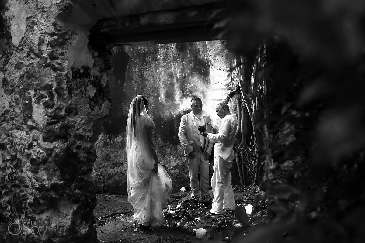 Black white photography Mayan wedding ceremony, elopement, chapel ruins, Hacienda Uayamon, Campeche, Mexico