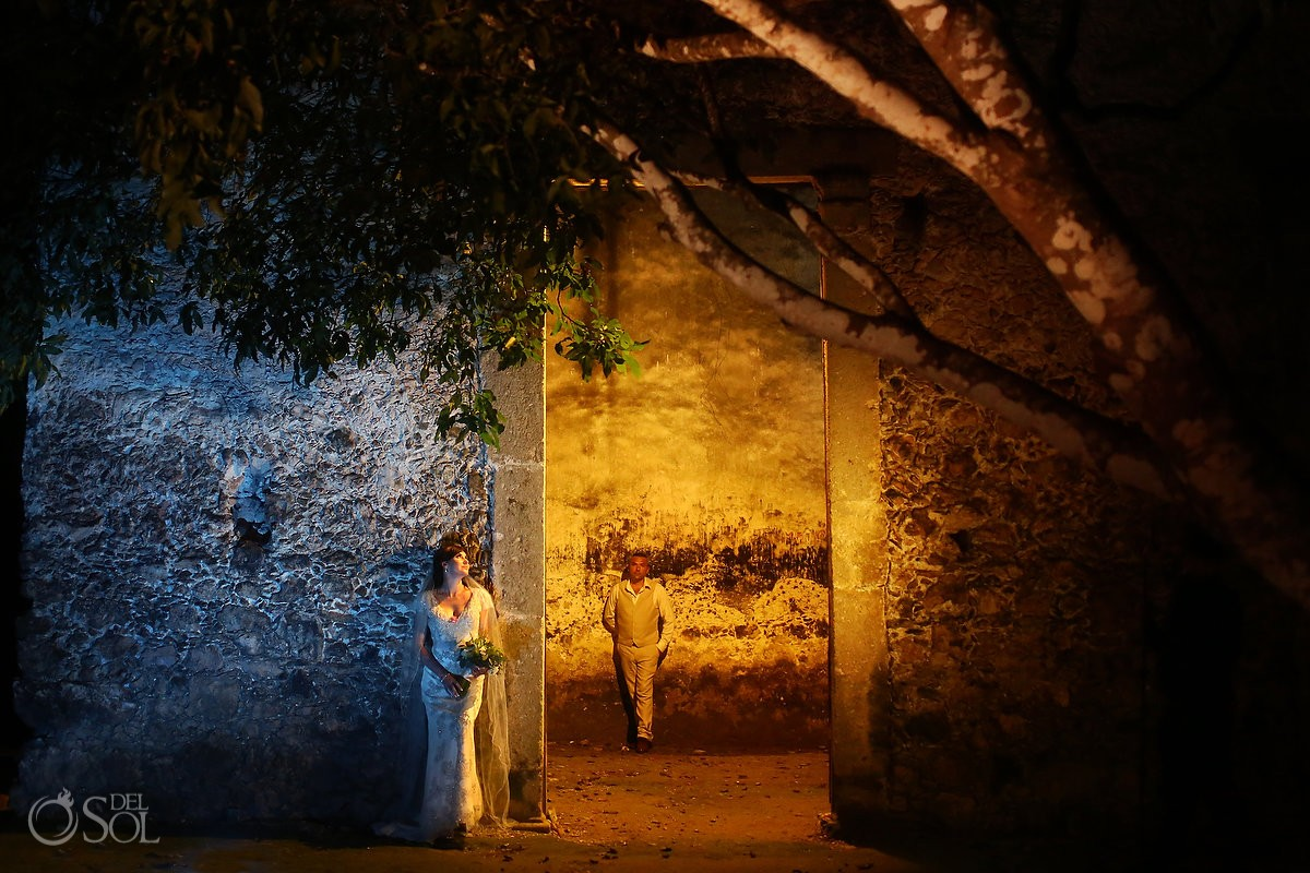Artistic Wedding portrait night, Hacienda Uayamon, Campeche, Mexico