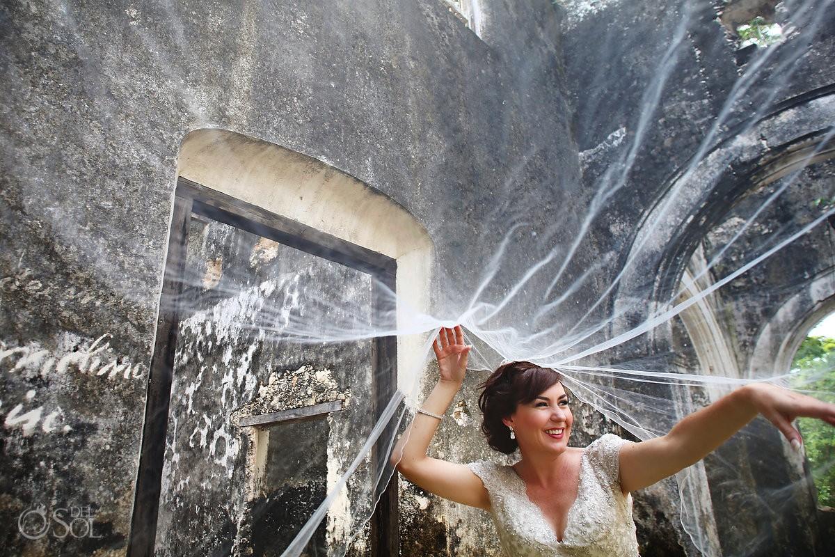 Bride veil beautiful wedding portrait, writing walls, ruins, Hacienda Uayamon, Campeche, Mexico