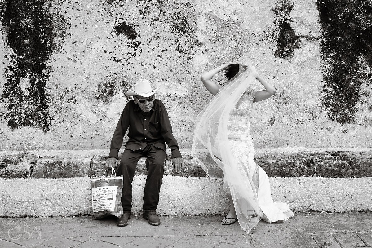 Creative wedding photography, bride and old man, black white street photography Campeche, Mexico