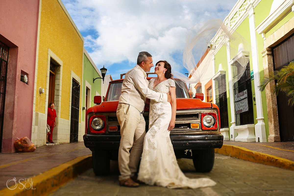 wedding portrait bride groom colrful caampeche streets red pick-up truck, Mexico