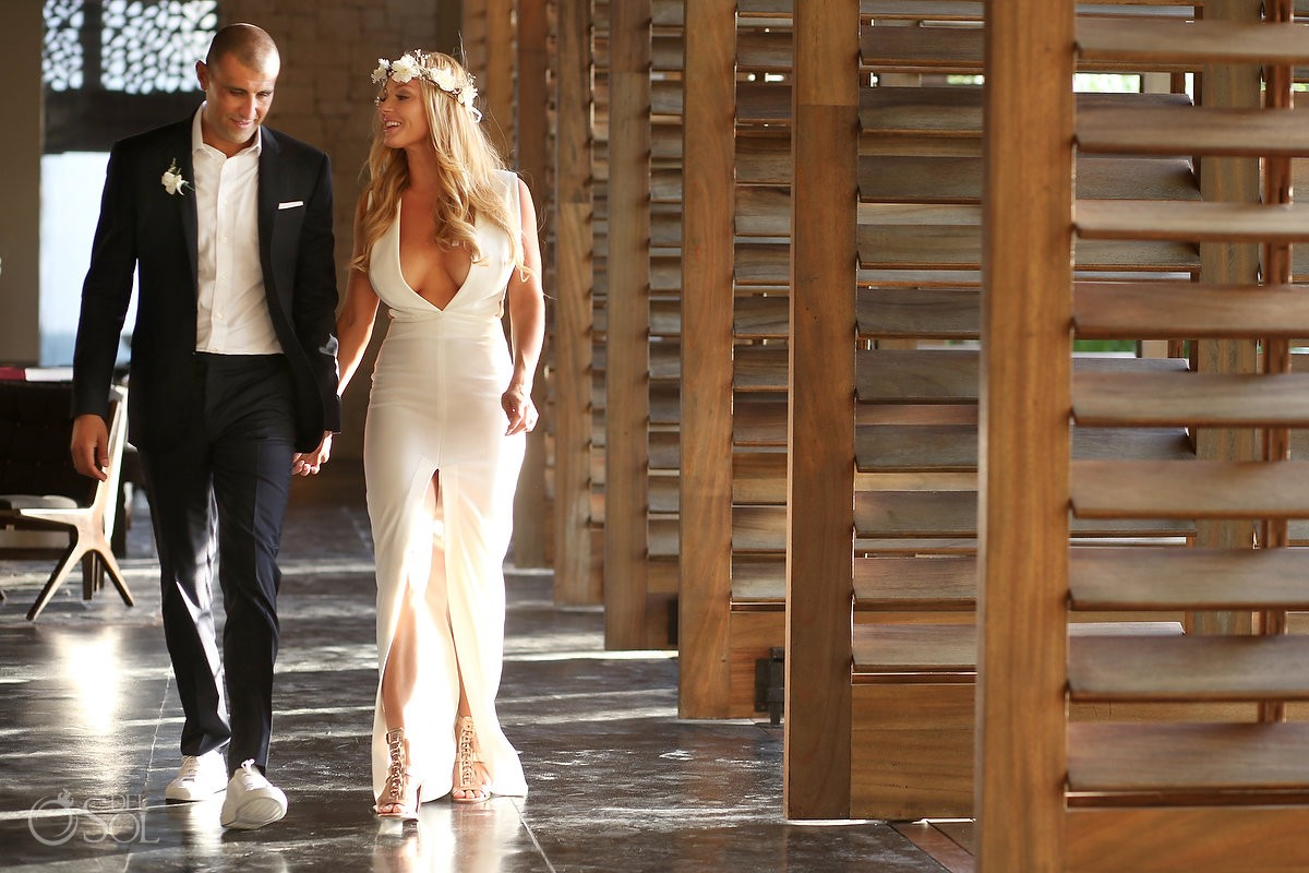Elopement wedding portrait lobby at NIZUC Resort & Spa, Cancun, Mexico