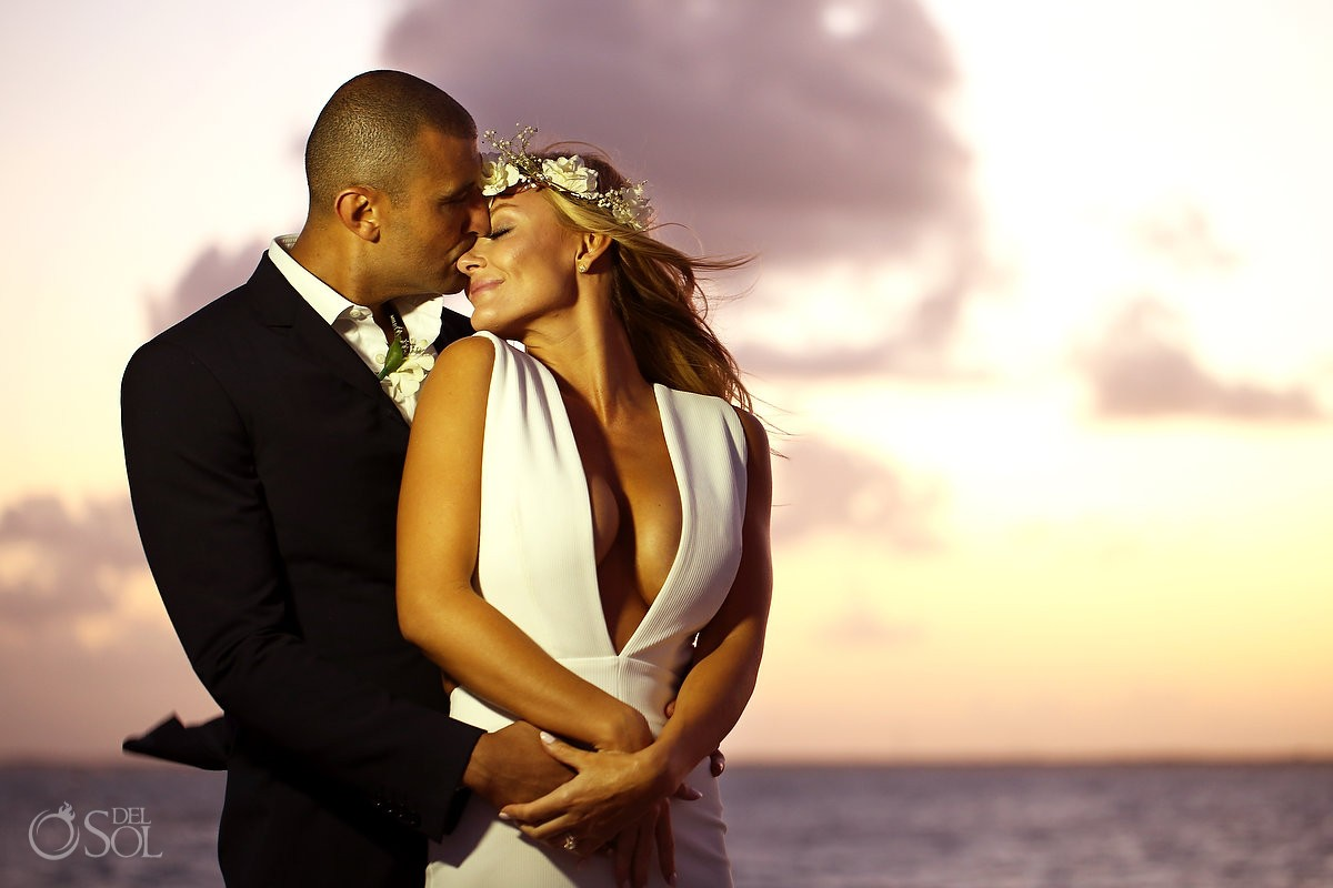 Silhouette sunset Elopement wedding portraits NIZUC Resort, Cancun, Mexico.