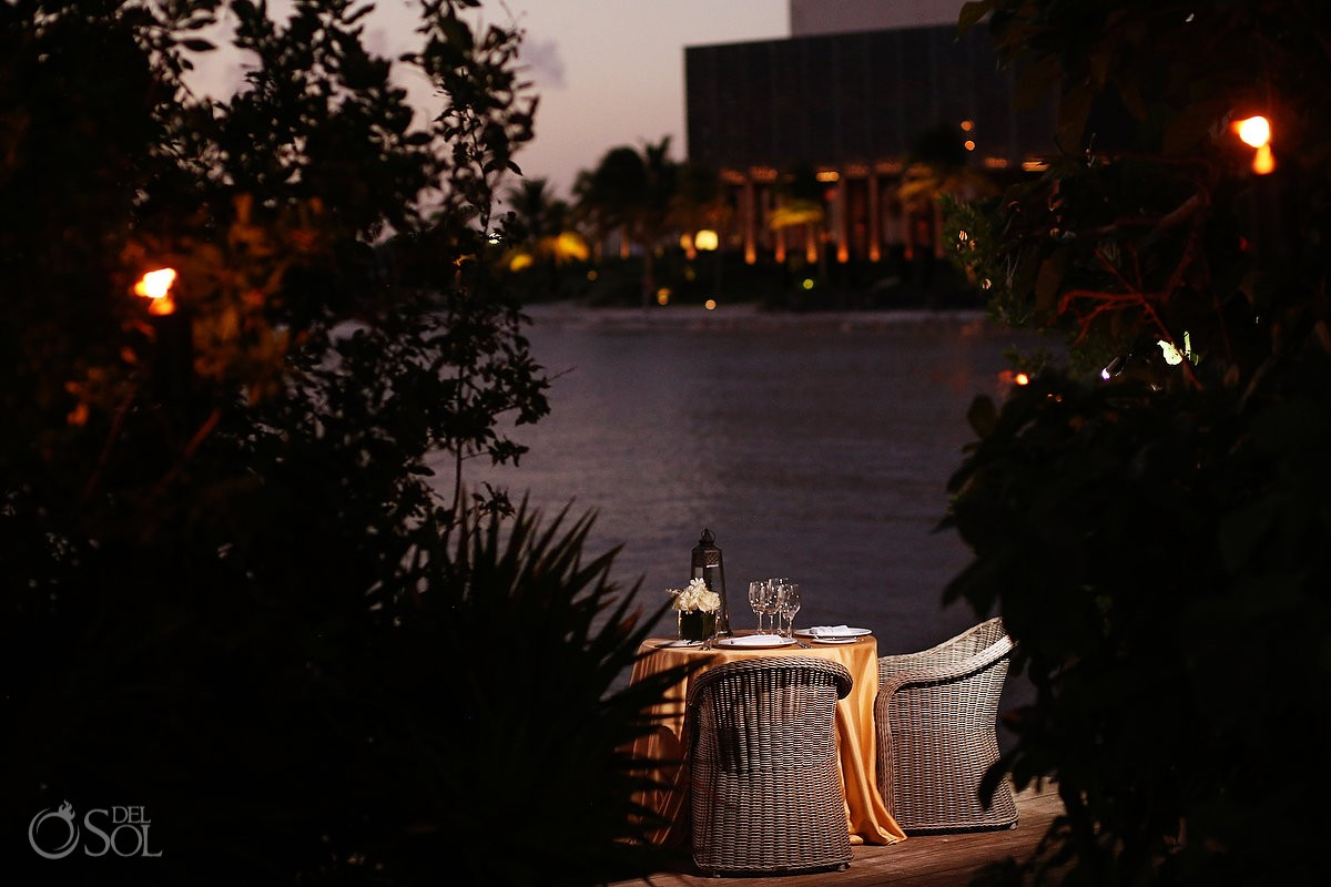 romantic dinner table set up sunset Elopement NIZUC Resort, Cancun, Mexico.