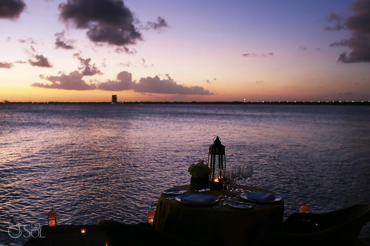 romantic ocean side dinner sunset Elopement NIZUC Resort, Cancun, Mexico.