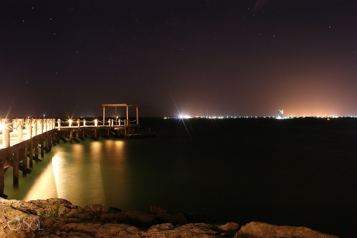 long exposure night time pier NIZUC Resort, Cancun, Mexico.