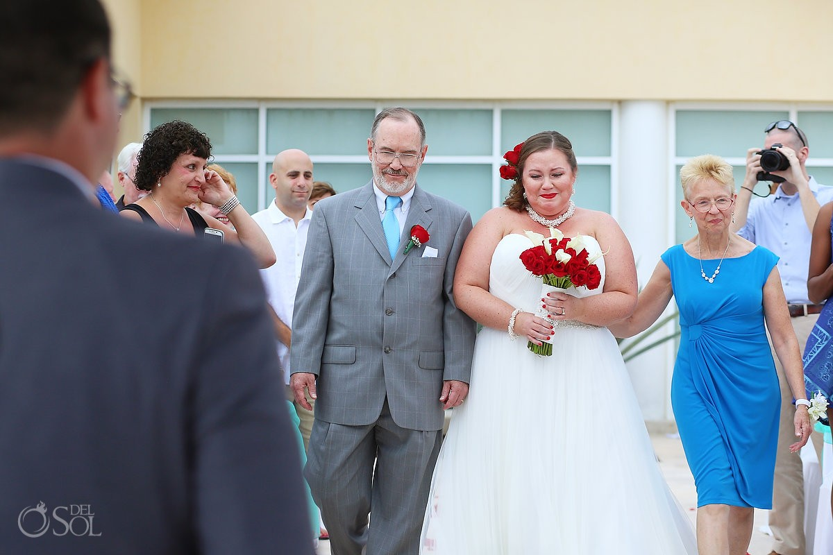 bride walking down the aisle at now jade hotel in mexico wedding