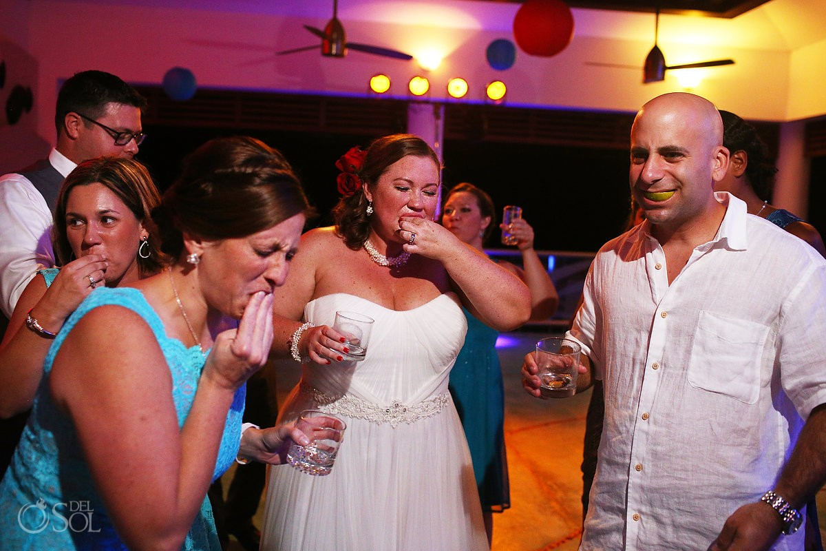 tequila shots at wedding reception at now jade hotel in the riviera maya