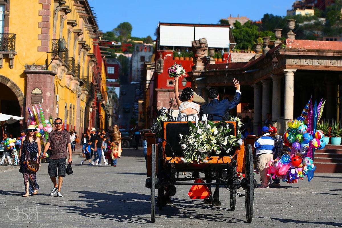 bride groom wedding horse carriage Rosewood Hotel San Miguel de Allende