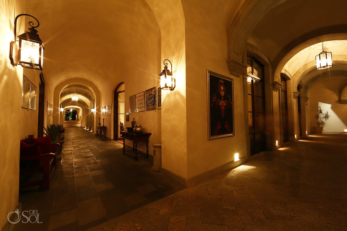 colonial architecture stone arch corridor Rosewood Hotel San Miguel de Allende evening night