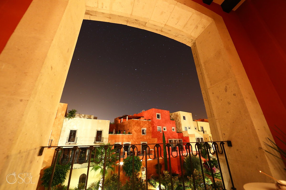 colonial architecture stone arch frame night sky stars Rosewood Hotel San Miguel de Allende Mexico