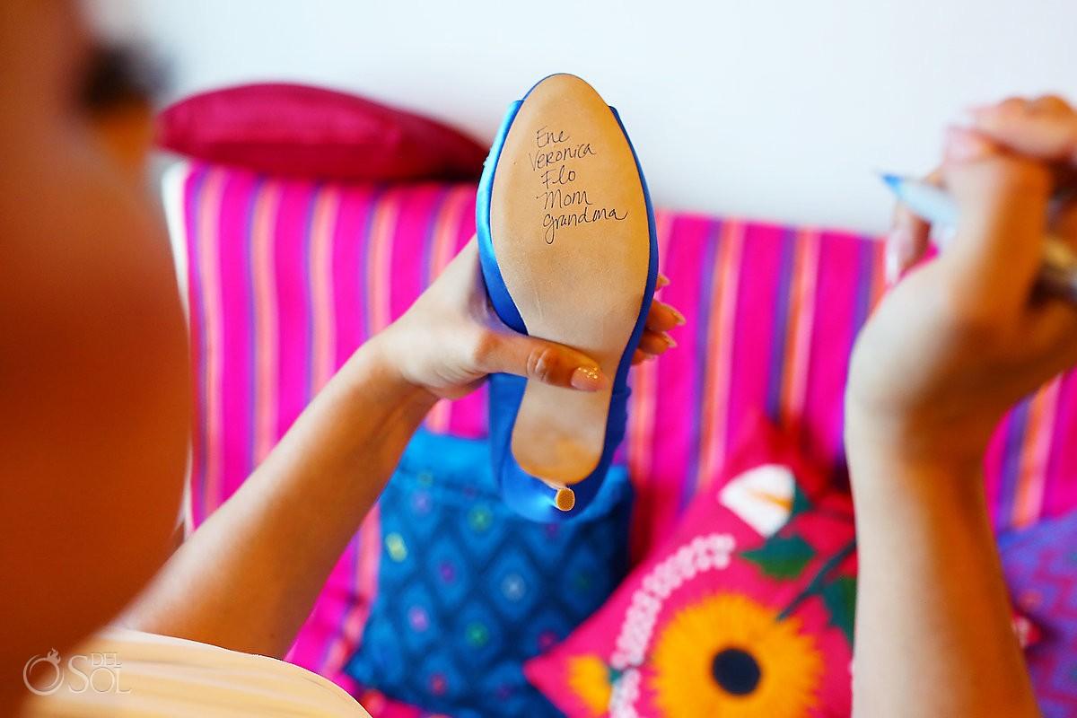 Greek wedding traditions single ladies names on shoe