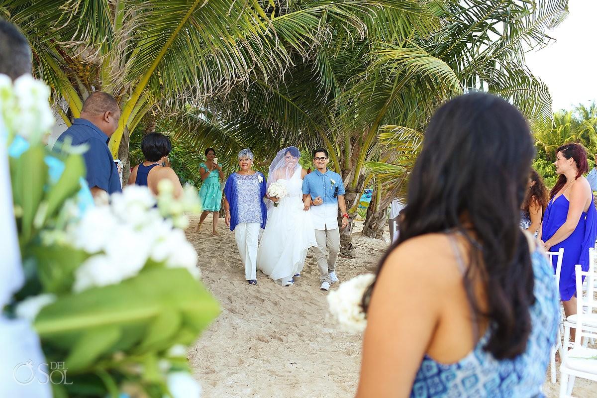 Bride entrance beach Wedding Villa Sombras del Viento, Soliman Bay, Riviera Maya, Mexico