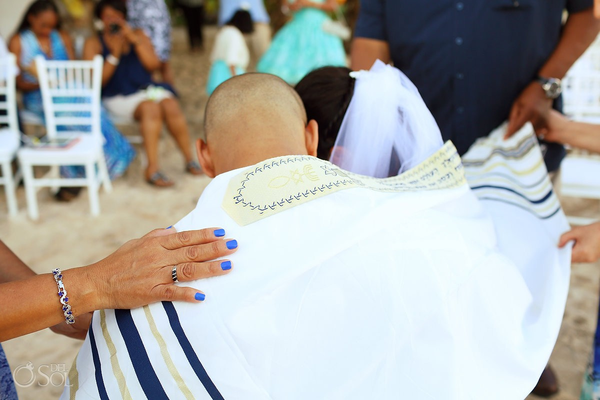 Greek orthodox wedding tradition shawl beach Wedding Villa Sombras del Viento, Soliman Bay, Riviera Maya, Mexico