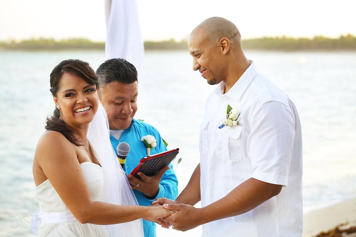 Bride smiling beach Wedding Villa Sombras del Viento, Soliman Bay, Riviera Maya, Mexico