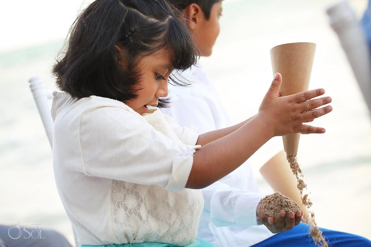 cute kid playing beach Wedding Villa Sombras del Viento, Soliman Bay, Riviera Maya, Mexico
