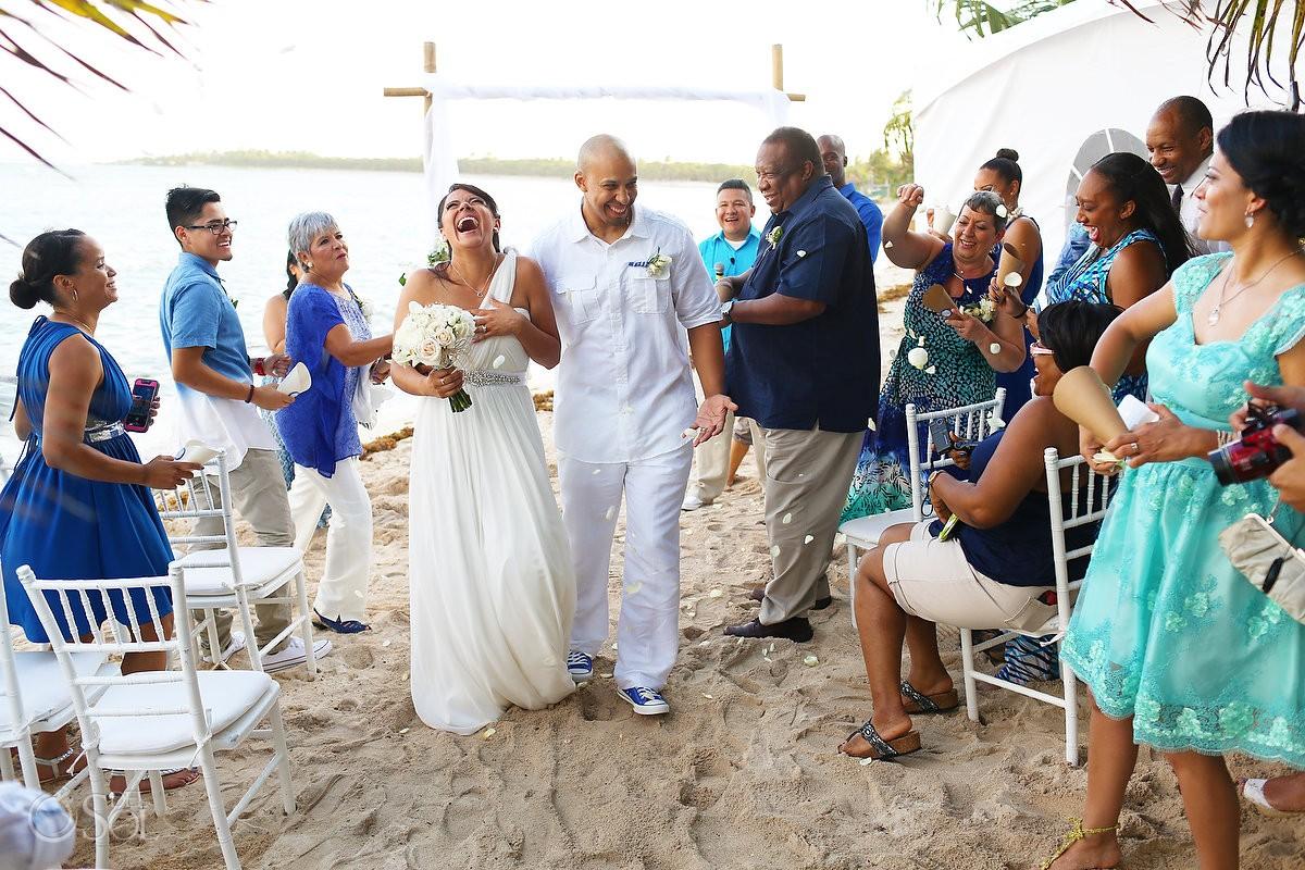 ceremony exit laughing beach Wedding Villa Sombras del Viento, Soliman Bay, Riviera Maya, Mexico