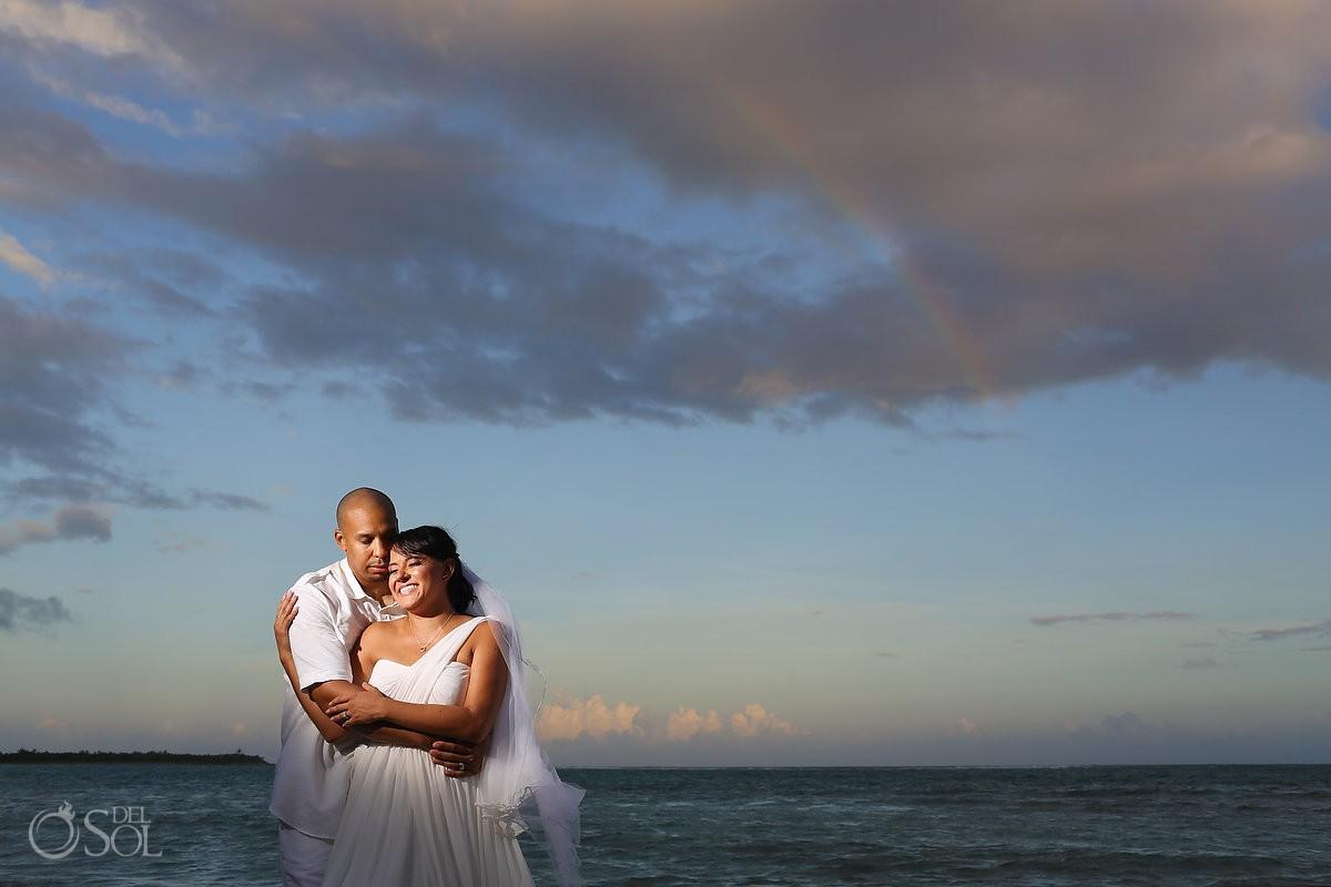 Rainbow wedding portrait Villa Sombras del Viento, Soliman Bay, Riviera Maya, Mexico