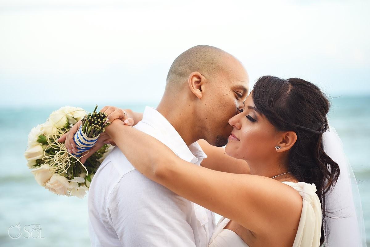 beach Wedding portrait, Villa Sombras del Viento, Soliman Bay, Riviera Maya, Mexico
