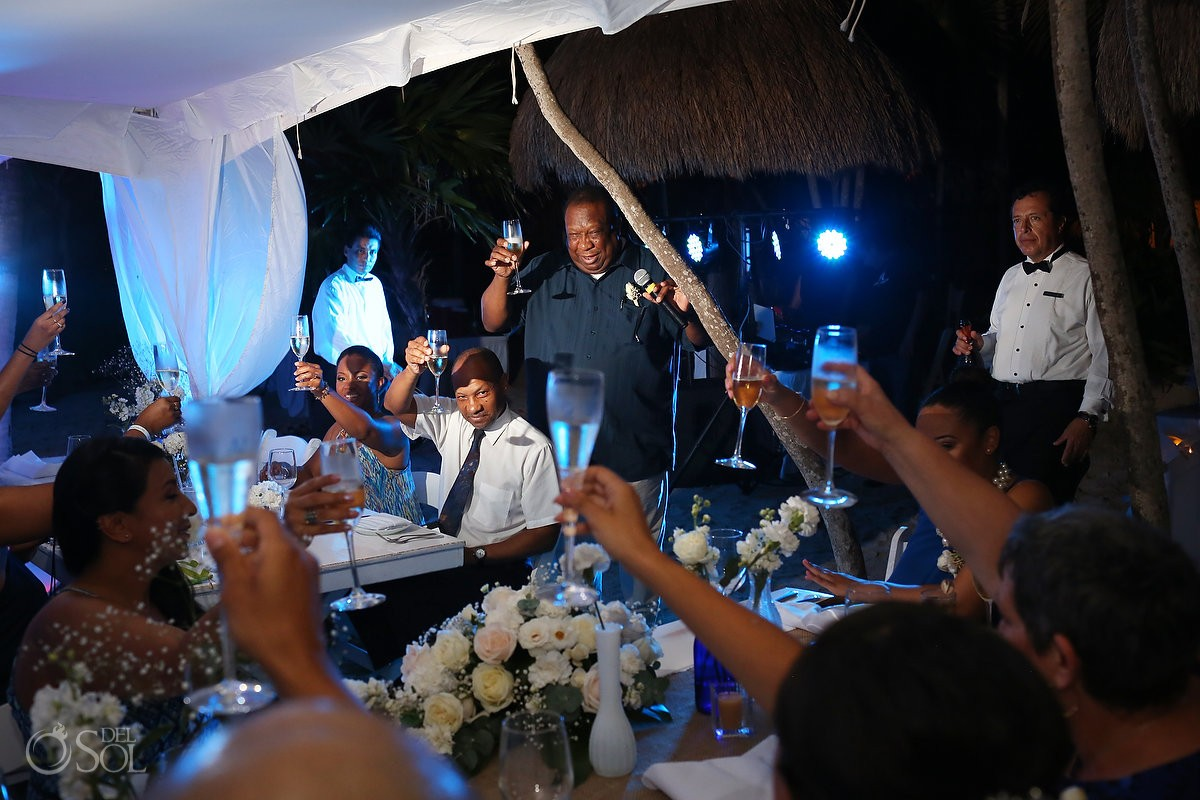toasts speeches, beach Wedding reception tent, Villa Sombras del Viento, Soliman Bay, Riviera Maya, Mexico