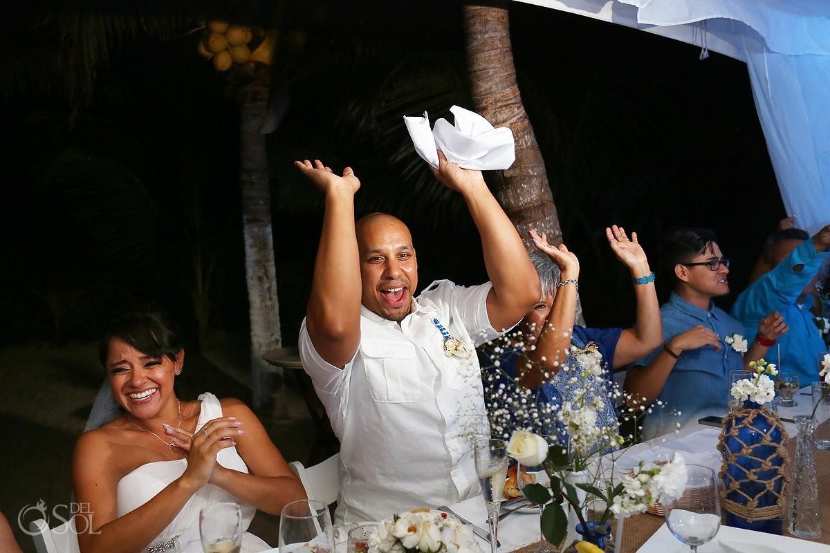 toasts speeches, beach Wedding reception, Villa Sombras del Viento, Soliman Bay, Riviera Maya, Mexico